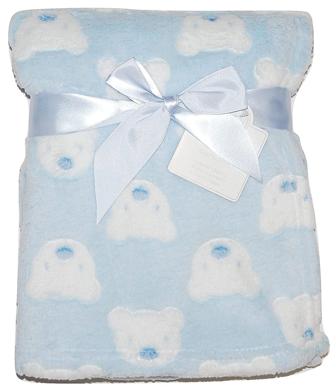 baby BLANKET BLUE hearts BROWN FLEECE crib pushchair pram moses cot car seat