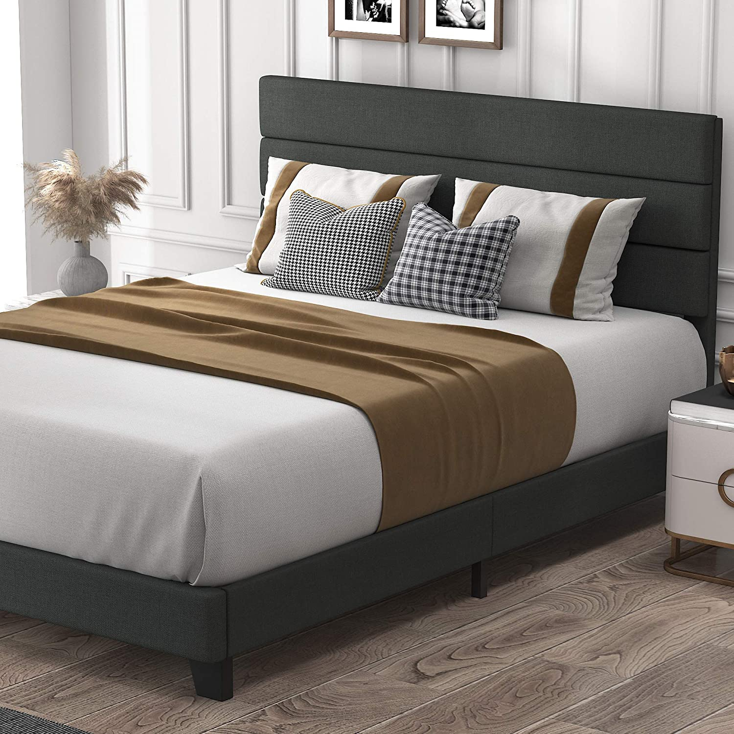 allewie full size platform bed frame with fabric upholstered headboard and wooden slats fully upholstered mattress foundation strong wooden slats