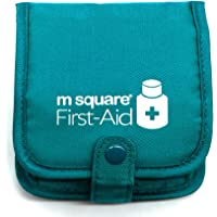 PuTwo Wallet Design Case Square Pill Organizer Storage Box with Multi-Pockets Travel Bag, Blue, 100 Gram