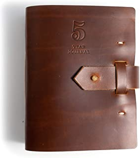 product image for Rustico 5 Year Journal/Five Year Diary Log Book/Journal, Handmade in The USA from top Grain Leather (Saddle)
