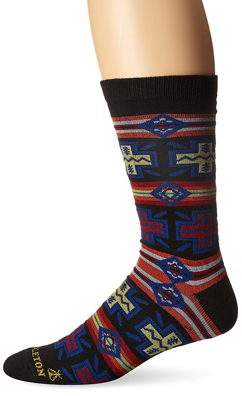 Pendleton Men's Pueblo Cross Crew Socks, Black, Large(9-12) McCubbin Hoisery 6438-M