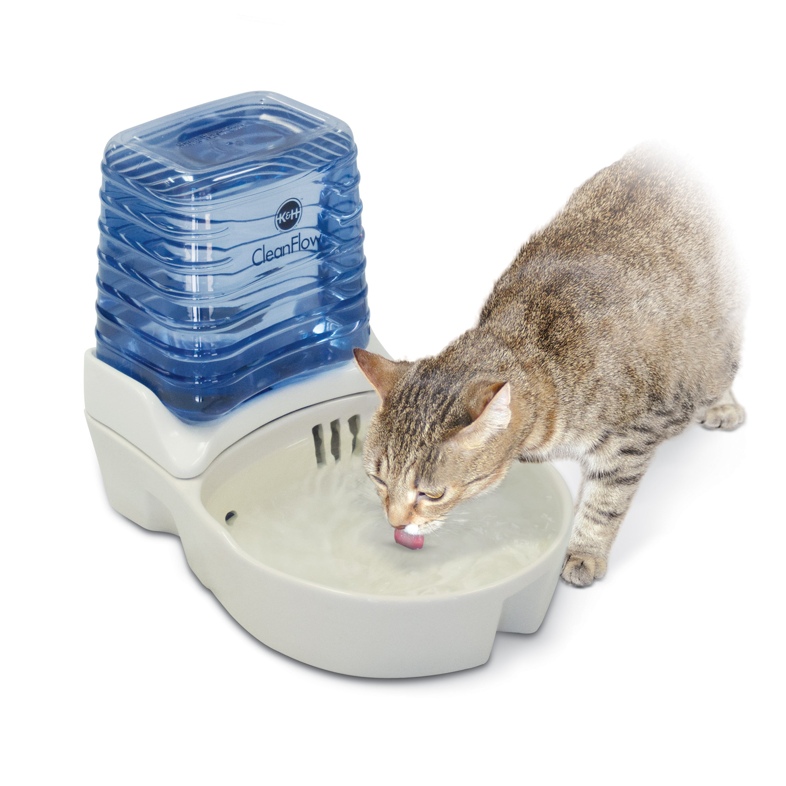K&H Pet Products CleanFlow Filtered Pet Water Bowl Ceramic With Reservoir Cat 80oz. + 90oz. Natural