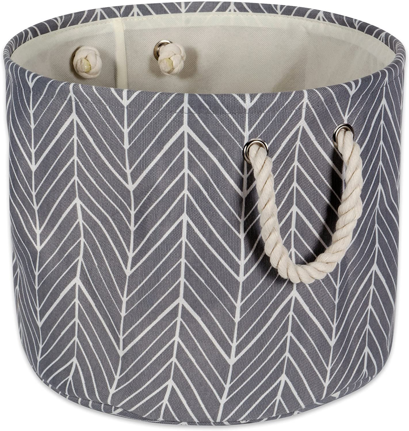"""DII Collapsible Polyester Storage Basket or Bin with Durable Cotton Handles, Home Organizer Solution for Office, Bedroom, Closet, Toys, & Laundry(Large Round– 15x16""""), Gray Herringbone"""
