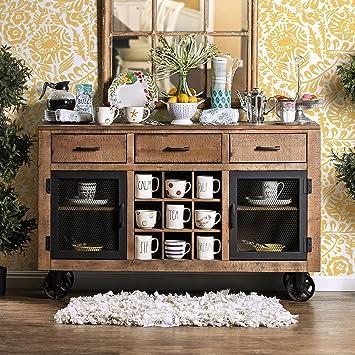 Amazoncom Furniture of America Matthias Industrial Rustic Pine