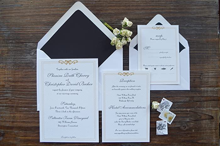 amazon com art deco wedding invitation suite set of 25 handmade