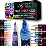ARTIZCO Acrylic Paint Pens for Rock Painting, 18 Pack Paint Pens Comes with Acrylic Markers, Metallic & Glitter, 0.7mm & 3 mm