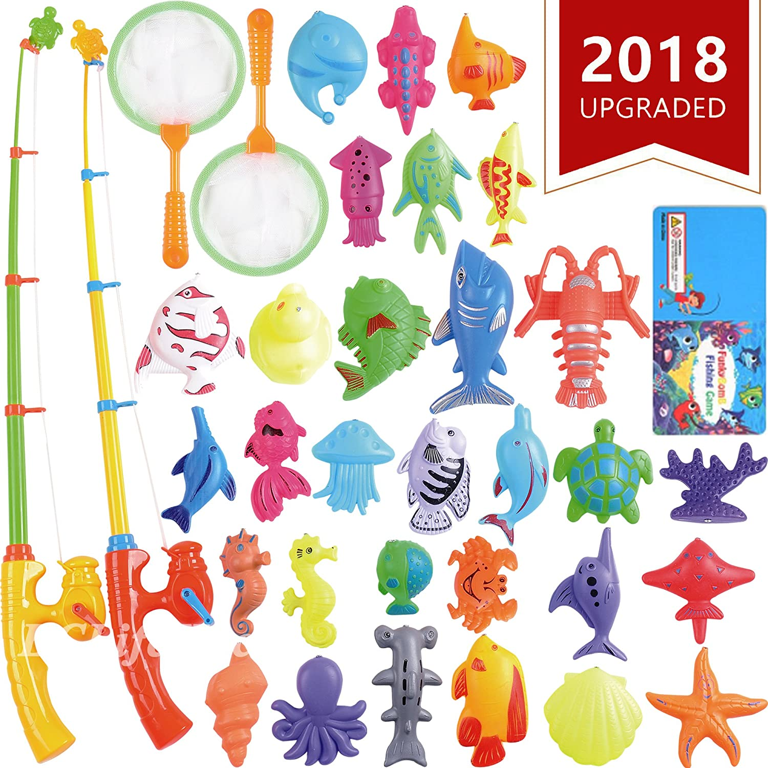 Magnetic Fishing Toys Game Set for Kids by ECLifeHack for Bathtime or Pool Party with Pole Rod Net, Plastic Floating Fish - Toddler Education Teaching and Learning of all Size Colors Ocean Sea Animals