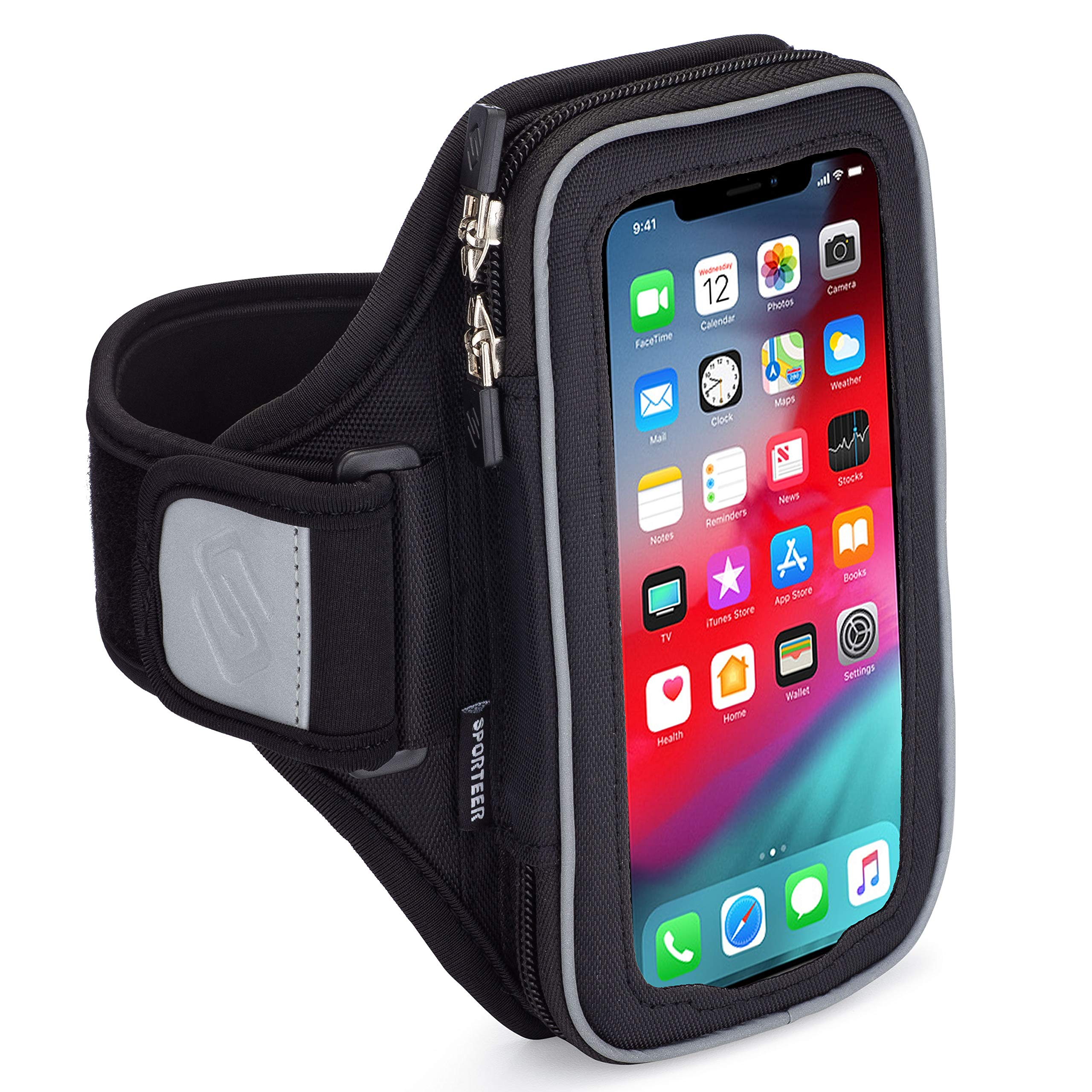 Sporteer Velocity V8 Running Armband - iPhone 11 Pro Max, Xs Max, iPhone 11, XR, 8 Plus, 7 Plus, Galaxy S10 Plus, S10, Note 10, 9, 8, S9 Plus, S8 Plus, Pixel 3 XL, 2 XL, LG, Moto - FITS Cases (M/L) by Sporteer