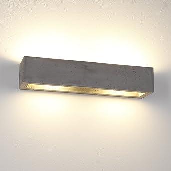 Gipswandleuchte LED In Beton Optik Dunkel | Wandleuchte Upu0026Down | Wandlampe  50cm Länge | Betonleuchte