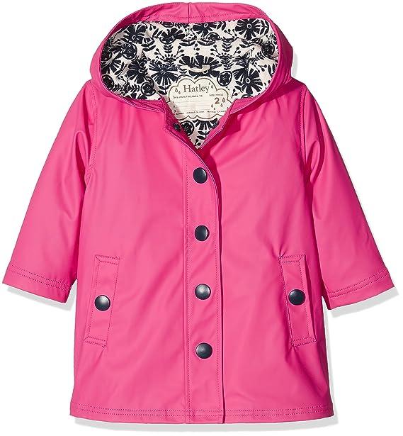 Hatley Splash Jacket-Pretty Pink, Abrigo Impermeable Niña, Rosa, 7 años (