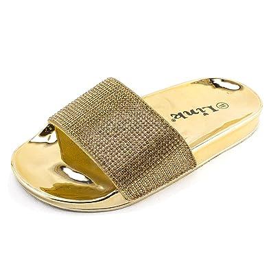 96cd99ec2fb5a1 Link Girls Open Toe Wide Rhinestone Single Band Slide On Sandals (Gold