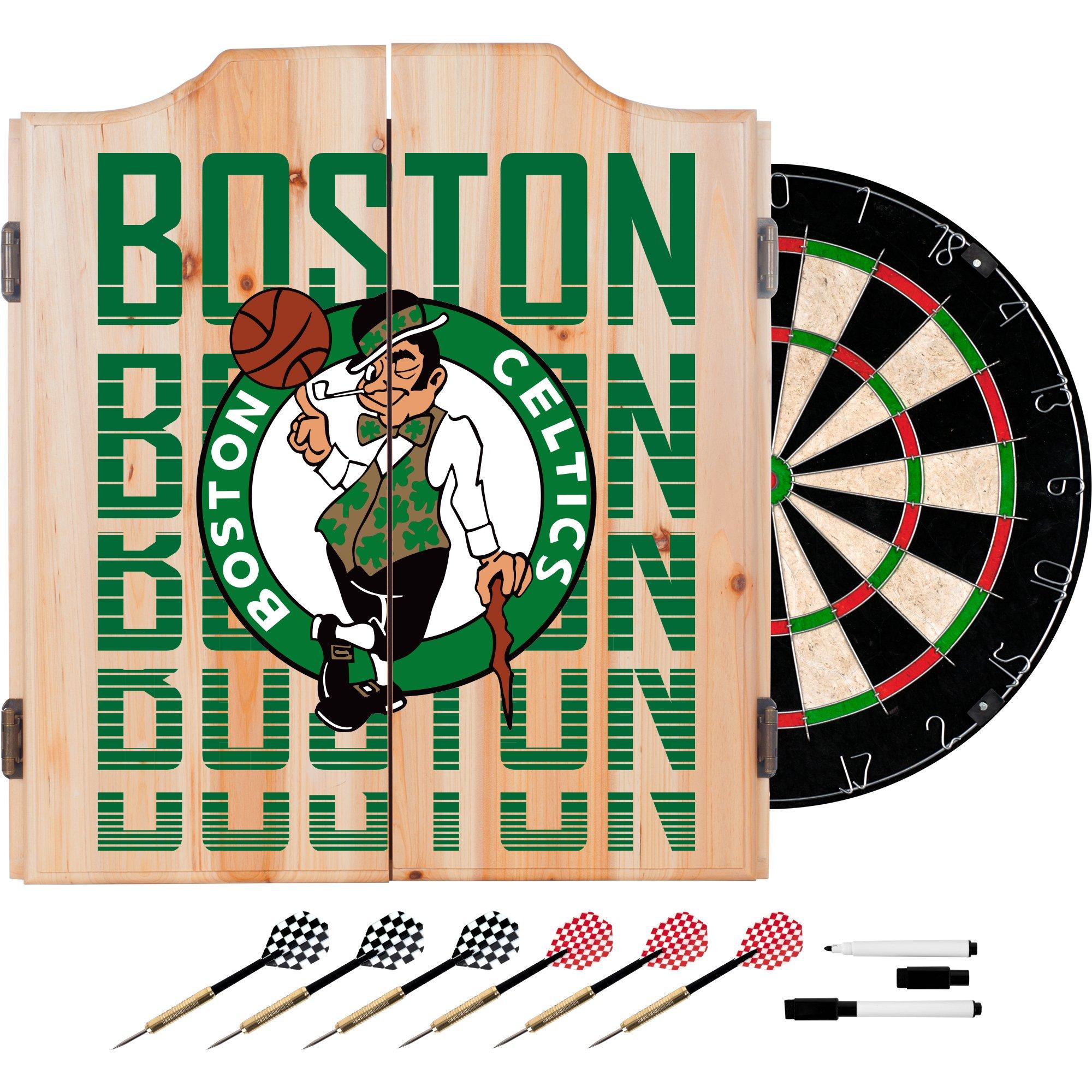 Trademark Gameroom NBA7010-BC3 NBA Dart Cabinet Set with Darts & Board - City - Boston Celtics by Trademark Global