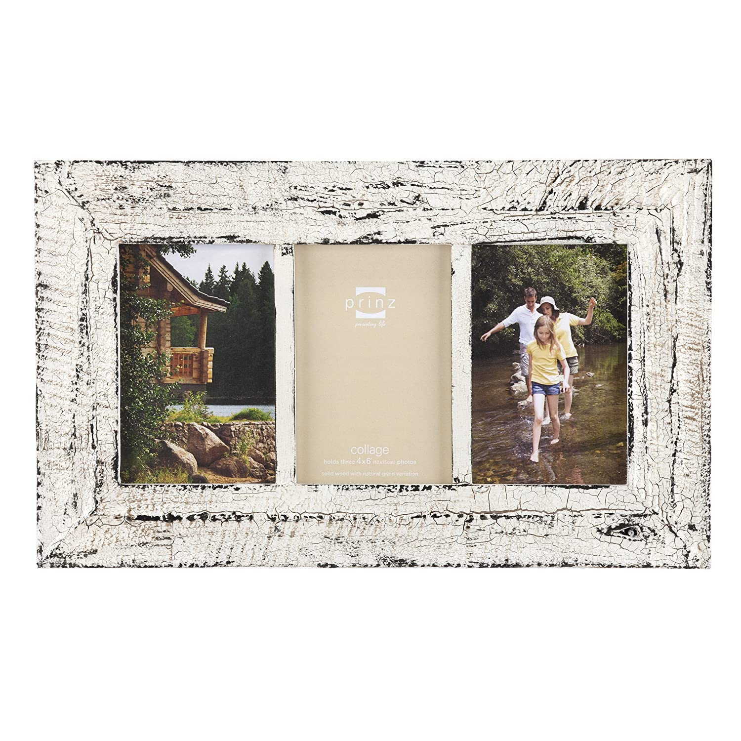amazoncom prinz birch hollow antique wood 3 opening photo frame white home kitchen