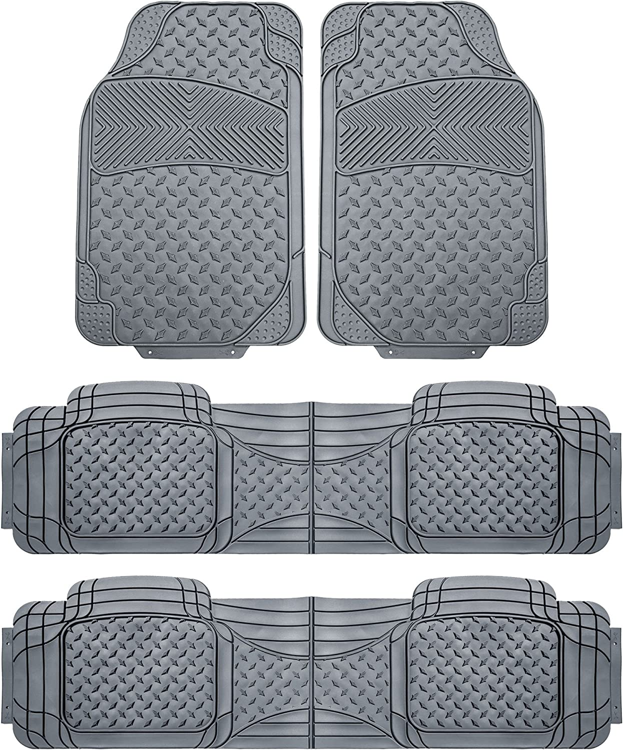 FH Group F11307 Semi-Custom Trimmable Vinyl Floor MatsF Three Row Set, Gray Color- Universal Fit for Cars Trucks and SUVs