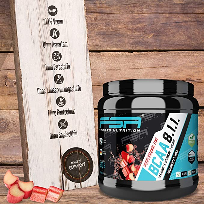 BCAA powder from the German pro sport brand FSA Nutrition®   High-dose amino acids 8:1:1   Vegan   Low-carb   Rhubarb: Amazon.es: Salud y cuidado personal