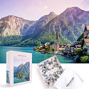 Hallstatt Austria • 1000 Pieces Jigsaw Puzzle for Adults • 28in x20in • Puzzle Tray • Fabric Puzzle Bag • Brand Jeneral Collectives Inc Wholesome Time • Lake • Mountains • Scenic • Town