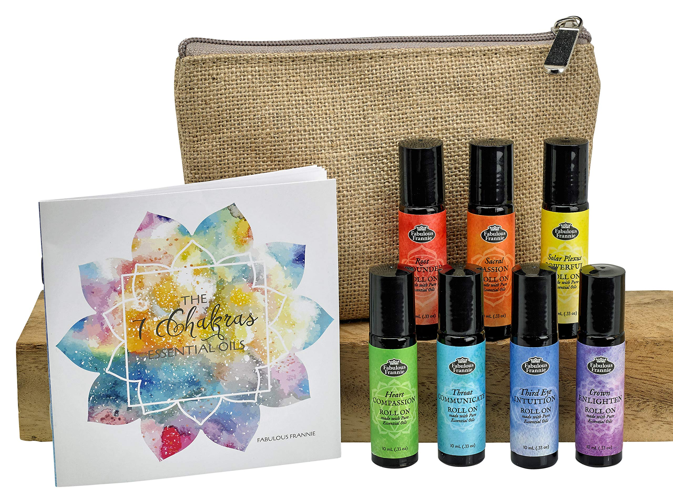 Chakra Complete Pre-diluted Roll On Set with Travel Bag Made with Pure Essentials Oils by Fabulous Frannie