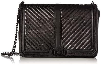 fea0d91b5 Rebecca Minkoff Women's Chevron Jumbo Love Cross Body Bag, Black/Black, One  Size