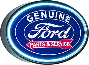 Genuine Ford Parts and Service- Reproduction Vintage Advertising Oval Sign - Battery Powered LED Neon Style Light - 16 x 11 x 2 Inches