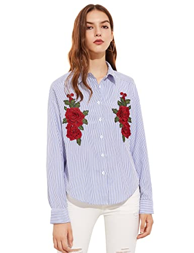 ROMWE Women's Long Sleeve Embroidered Floral Shirt Blouse Top