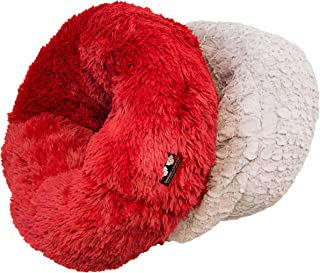 product image for BESSIE AND BARNIE Serenity Grey/Lipstick Luxury Deluxe Extra Plush Faux Fur Burrow Pet/Dog Bed