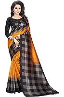 Rensila Women's Mysore Art Silk Sarees With Blouse Piece (GR_Checks _Mustard Yellow)