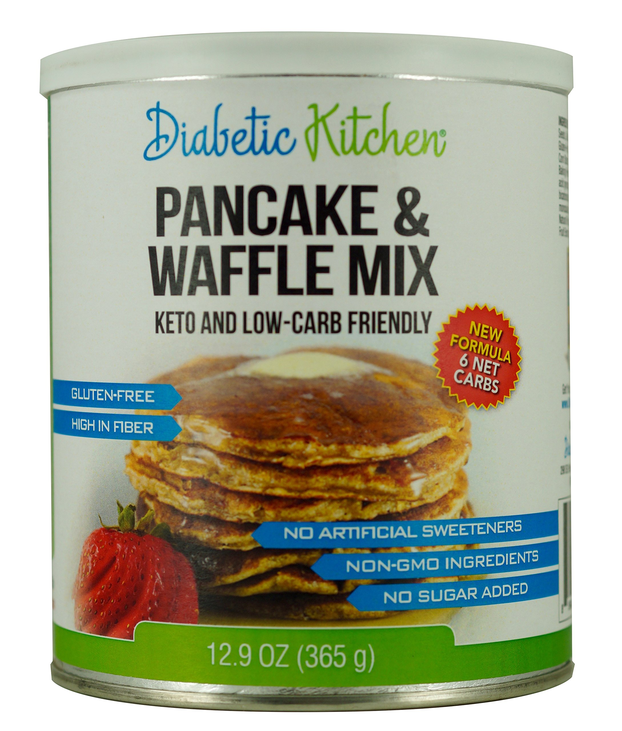 Diabetic Kitchen Pancake & Waffle Mix Is Keto-Friendly, Low-Carb, Gluten-Free, High-Fiber, No Artificial Sweeteners or Sugar Alcohols, Non-GMO and No Sugar Added (13 Servings)