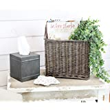 AuldHome Gray Washed Magazine/File Basket, Farmhouse Rustic Woven Willow Storage Basket