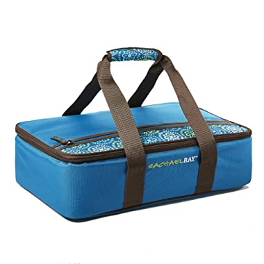 Rachael Ray Lasagna Lugger, Insulated Casserole Carrier for Potluck Parties, Picnics, Tailgates - Fits 9 x13  Baking Dish, Marine Blue Floral Medallion