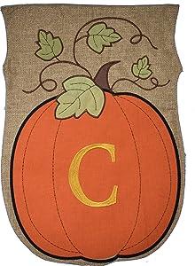 JEC Home Garden Flag Monogram Fall Pumpkin Burlap Autumn Garden Flag 12.5 x 18 (C)