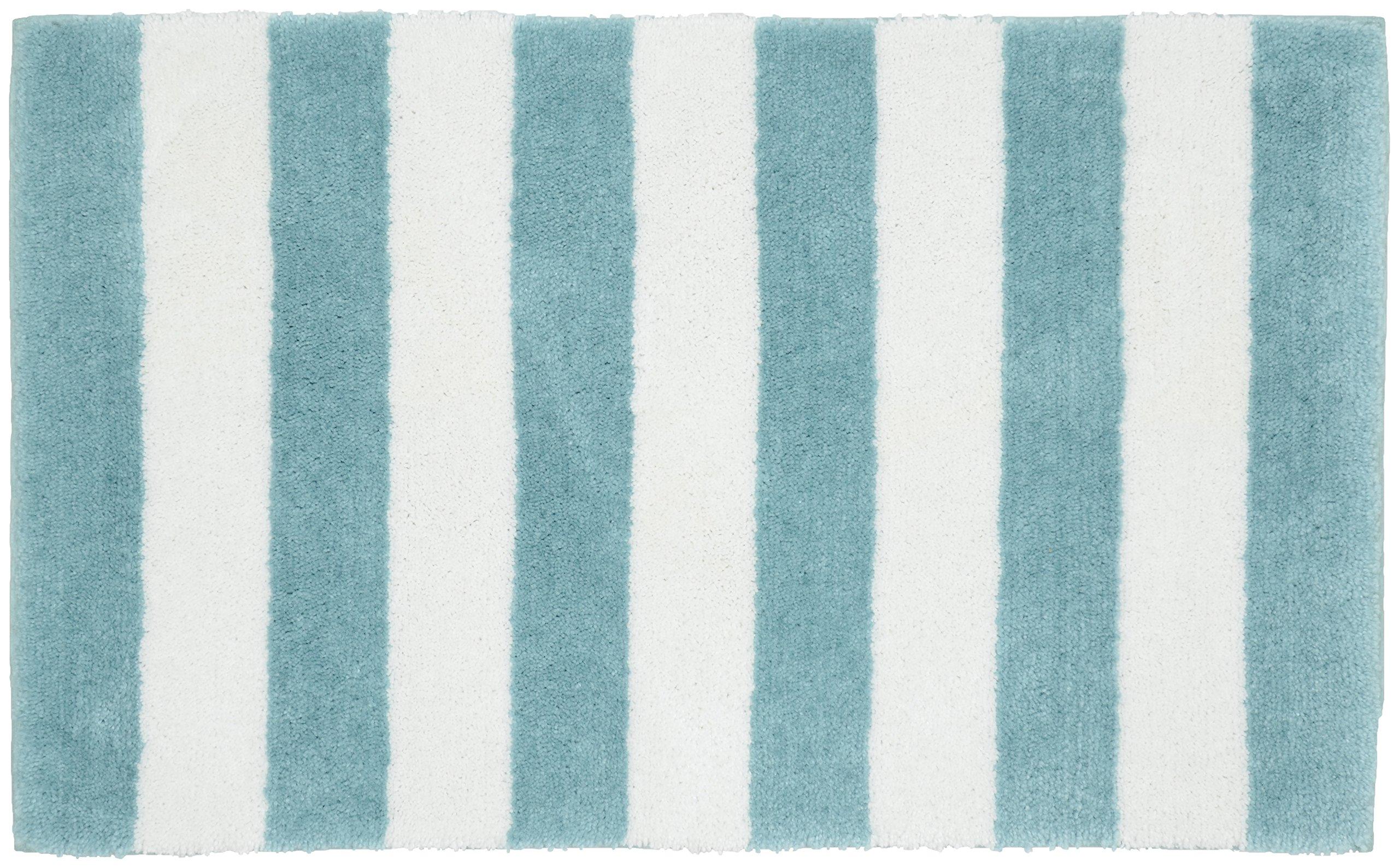 Garland Rug Beach Stripe Bath Rug, 21'' x 34'', Seafoam/White