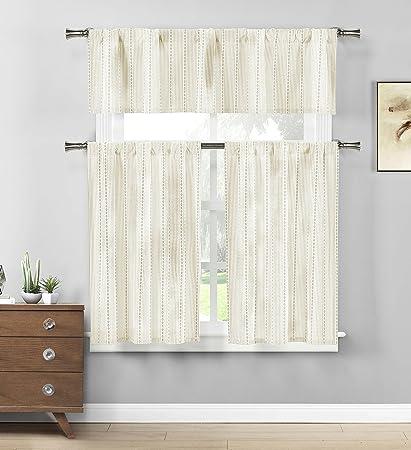 Home Maison Striped Kitchen Window Curtain Set, 58 X 15 1 Valance | 29 X
