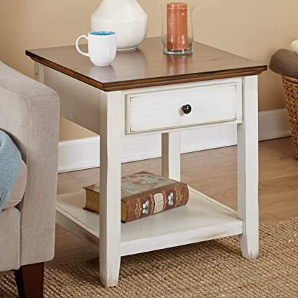 Amazon Com Ph 1 Piece 24 Inch Off White Accent Table Lake House