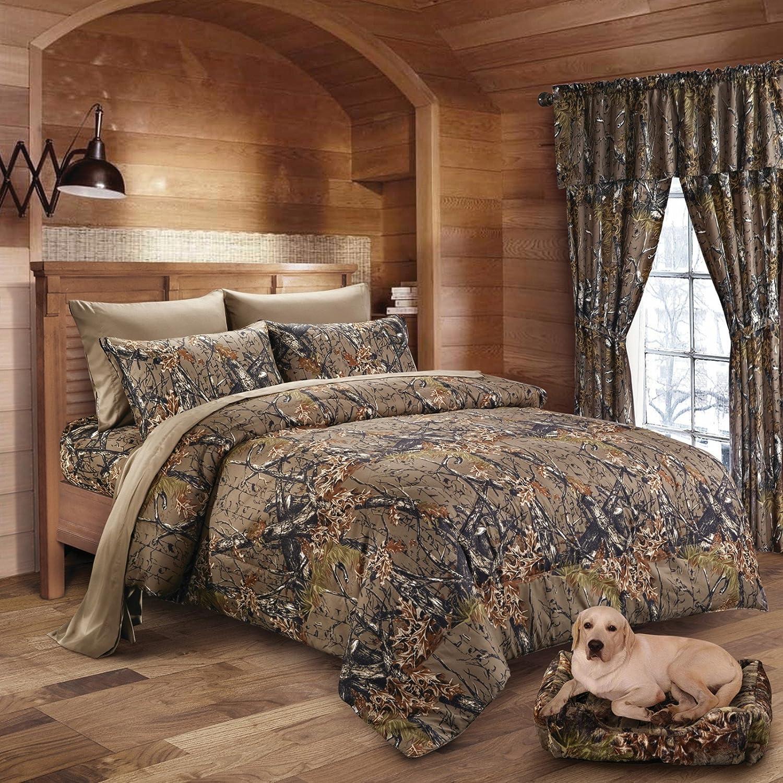 Amazon.com: 20 Lakes Woodland Hunter Camo Comforter, Sheet, & Pillowcase  Set (Queen, Forest): Home & Kitchen