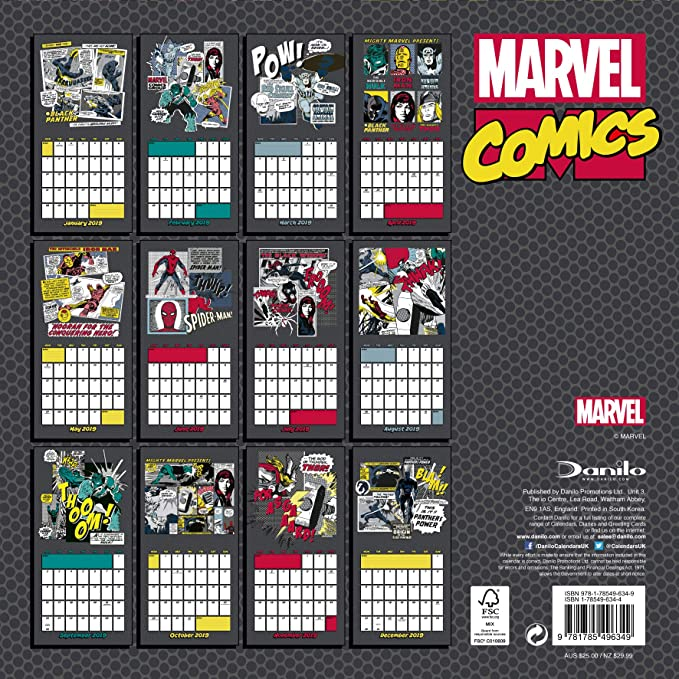 2019 Marvel Calendar Marvel Comics Classic Official 2019 Calendar   Square Wall