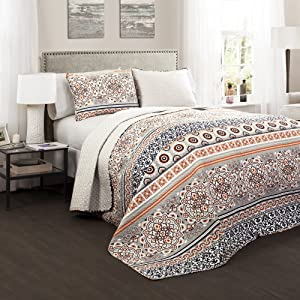 Lush Decor Nesco Quilt Striped Pattern Reversible 3 Piece Bedding Set, King, Navy and Coral