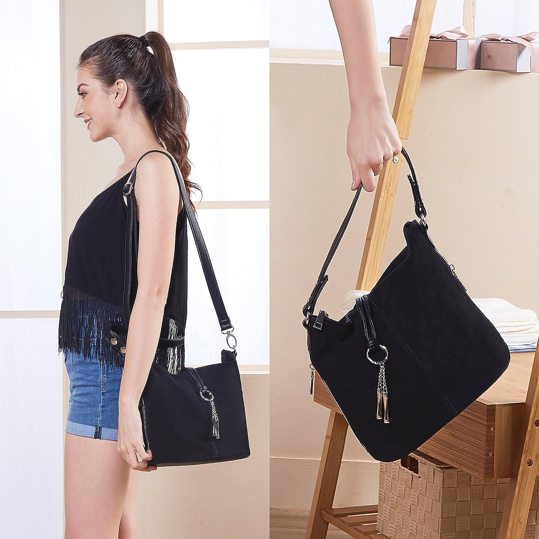 Nico Louise kvinnor handväska mocka delad äkta läder axelväska ledig crossbody hobo handväska Svart