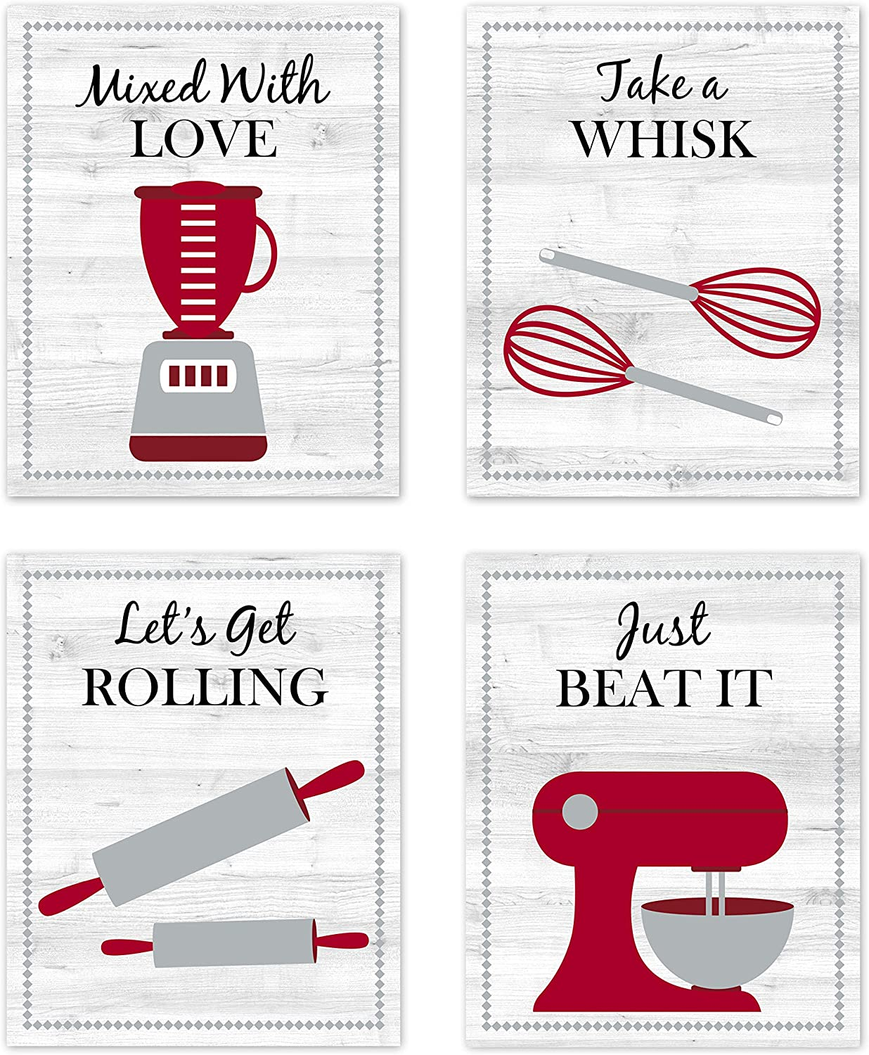 Red, Black, Gray and White Retro Vintage Inspirational Kitchen Restaurant Utensil Wall Art Baking Chef Cooking Wood Grain Prints Posters Signs Sets for Rustic Modern Farmhouse Country Home Dining Room Decor Decorations Funny Sayings Quotes Unframed 8x10
