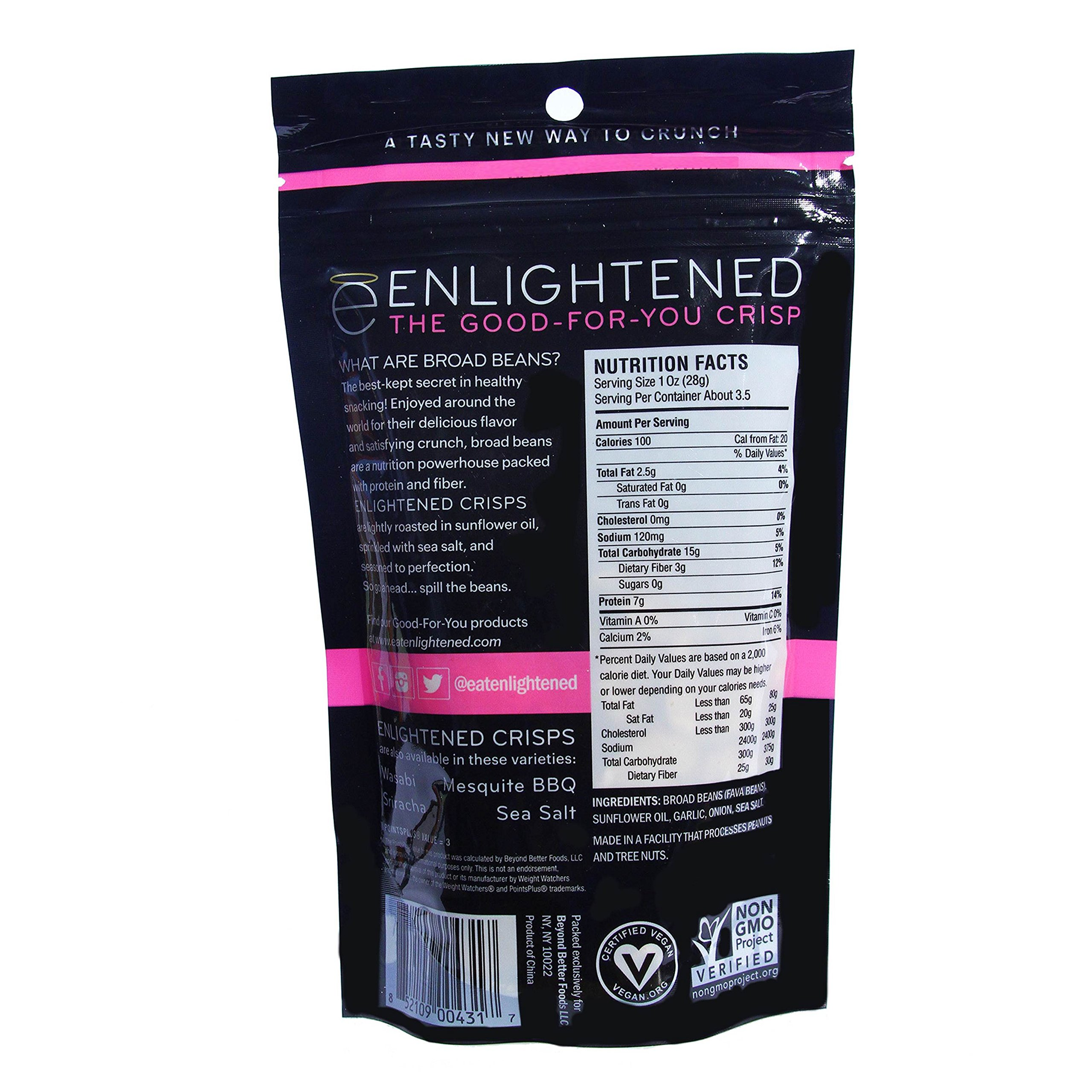 Enlightened Plant Protein Gluten Free Roasted Broad (Fava) Bean Snacks, Garlic and Onion, 3.5 Ounce (Pack of 6) by Enlightened