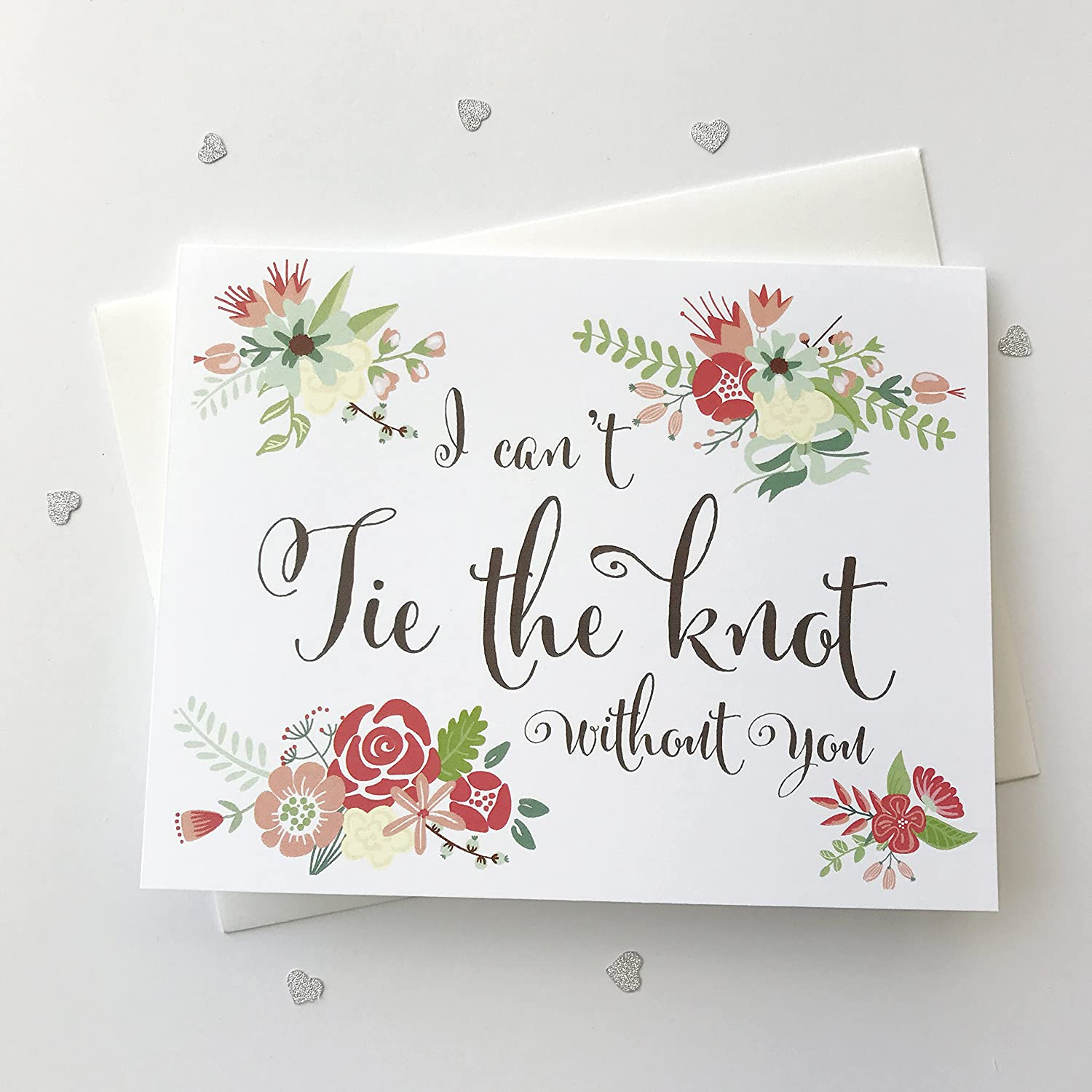 image regarding Printable Knot Tying Cards titled 8 ct I Cant Tie The Knot Devoid of On your own Wedding day Working day Playing cards Thank Your self Playing cards, Will On your own Be My Bridesmaid Playing cards, Floral Bridesmaid Playing cards (WB042-CN)