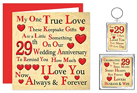 29 Anniversario Di Matrimonio.Our 29th Wedding Anniversary Gift Set Card Keyring Fridge
