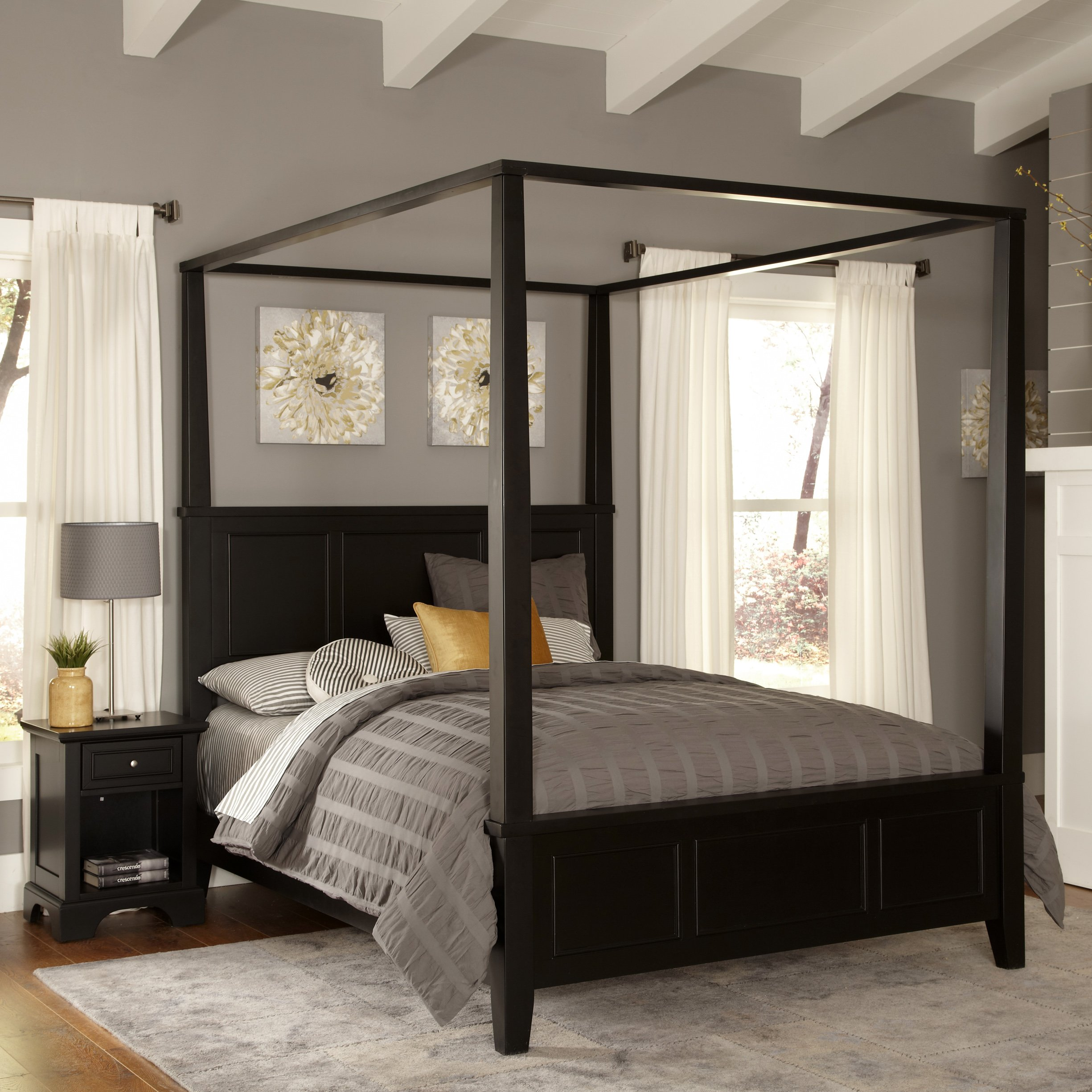 Bedford Black Queen Canopy Bed & Night Stand by Home Styles