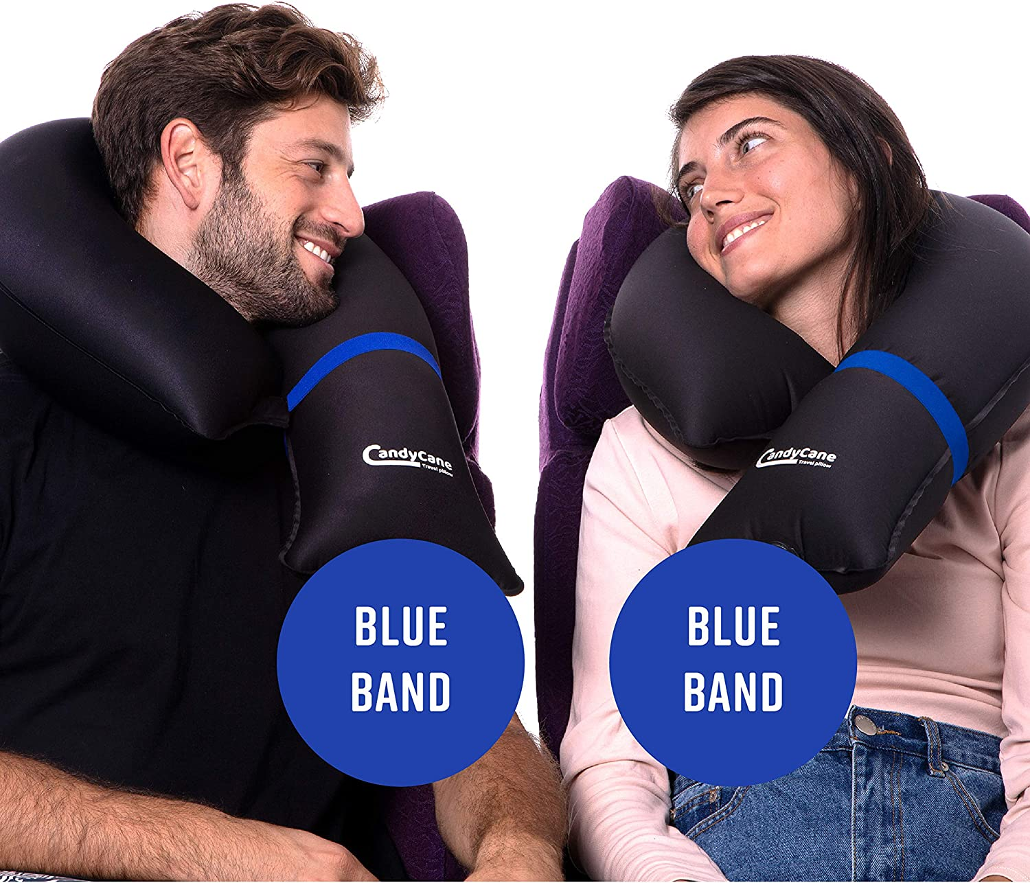 CANDY CANE 2Pack Blue Inflatable Travel Pillows - Ultra Compact and Modular for Airplane, Trains, Cars and Camping - Adjustable Supporting One-Size-Fits-All with Portable Carrying Bag (2xBlue)