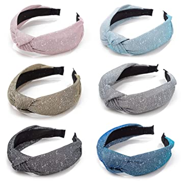 GUNIANG Sparkly Glitter Headbands for Women Knot Wide Head Band Shimmer  Hair Accessories