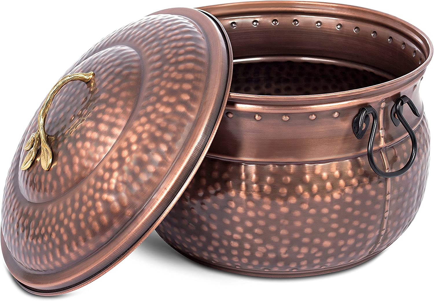 BIRDROCK HOME Decorative Water Hose Holder with Lid - Ground Garden Hose Pot - Beautiful - Handle - Embossed - Steel Metal with Copper Accents - Outdoor or Indoor Use