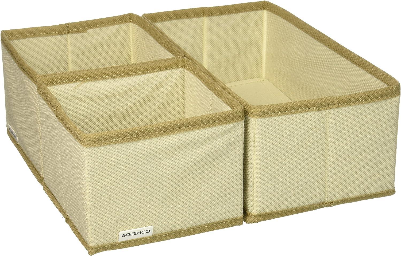 Amazon Com Greenco Non Woven Foldable 3 Piece Drawer And Closet Storage Cube Set Beige Home Kitchen