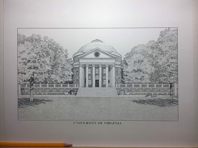 University of Virginia - The Rotunda 11'x14' hand-drawn pen and ink print