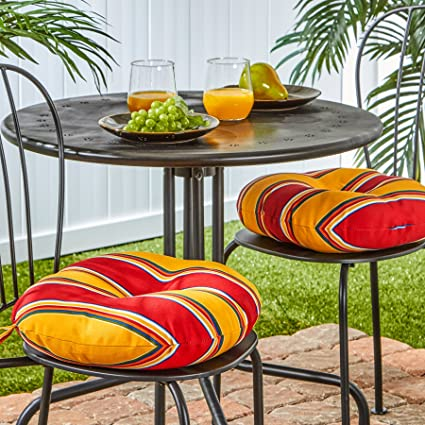 Greendale Home Fashions 15 Inch Round Indoor/Outdoor Bistro Chair Cushion,  Carnival Stripe