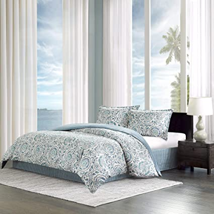 Echo Design Kamala Cal King Size Bed Comforter Set - Blue, White, Floral  Medallion – 4 Pieces Bedding Sets – 100% Cotton Sateen Bedroom Comforters