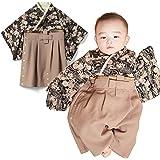 92194e855e351 Sweet Mommy 袴 ロンパース ベビー 着物 カバーオール 日本製和柄ちりめん ブラック 80